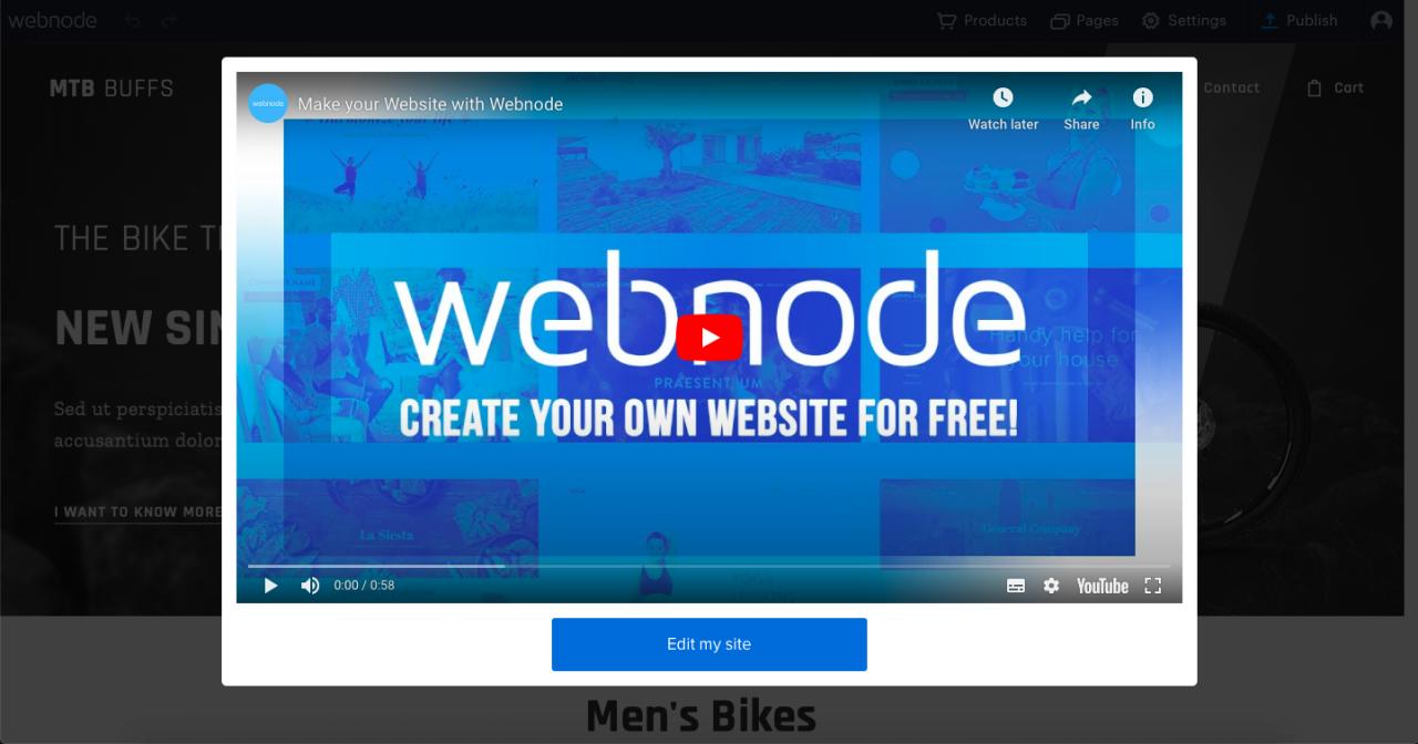 webnode site builder screenshot