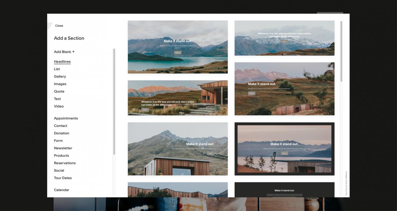 squarespace template design editor screenshot