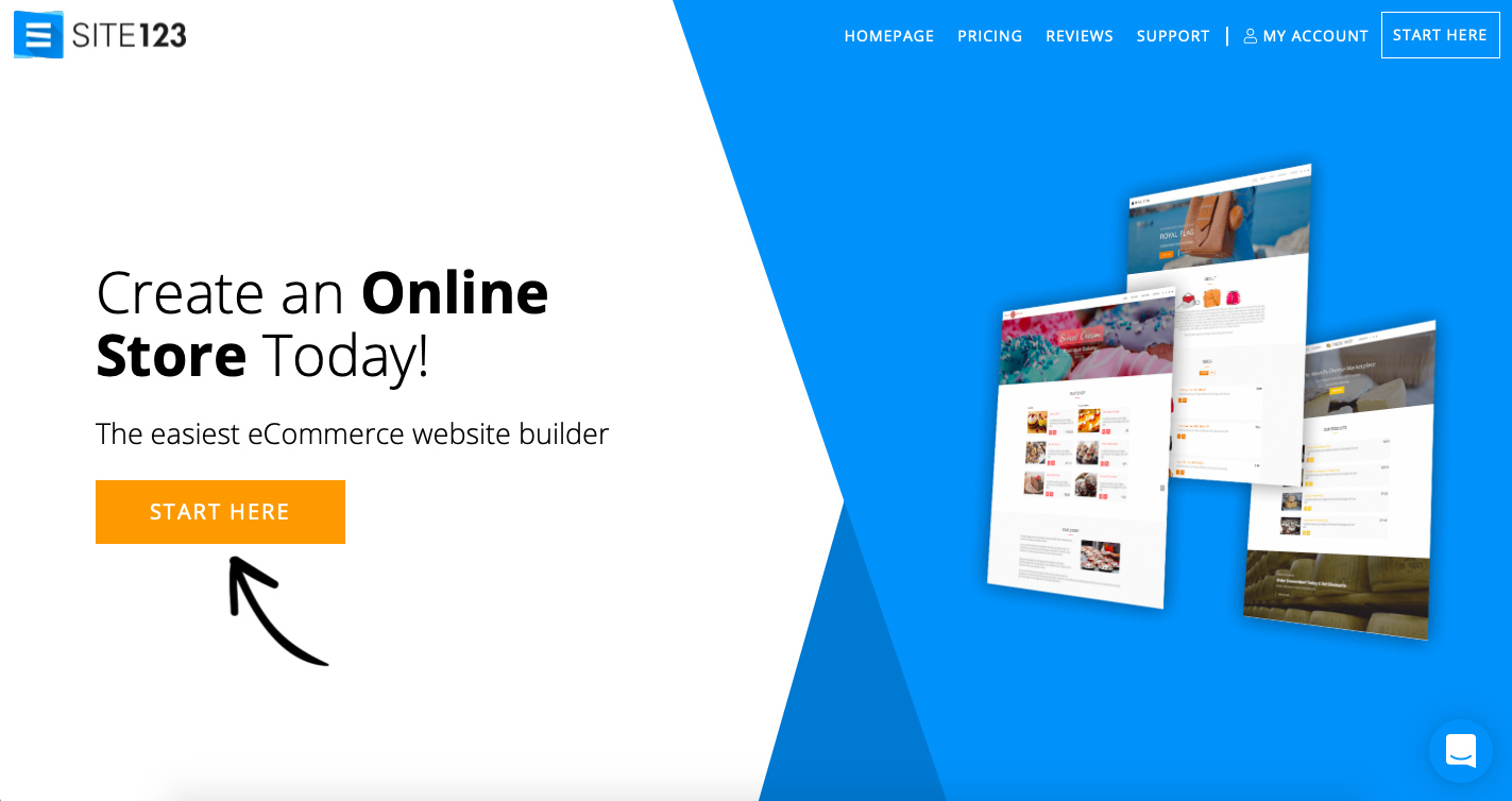 site123 ecommerce site builder screenshot