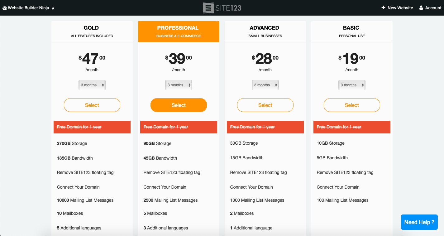 site123 pricing plans screenshot