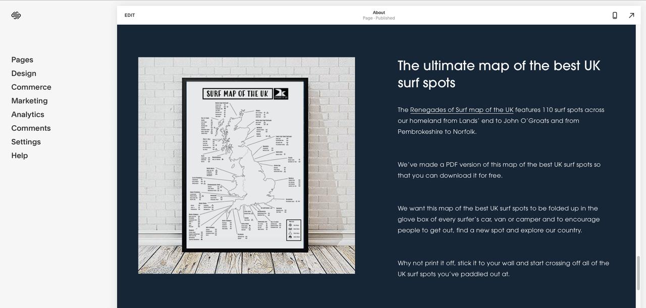 squarespace dashboard screenshot