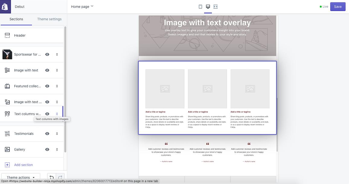 shopify drag and drop template editor interface screenshot