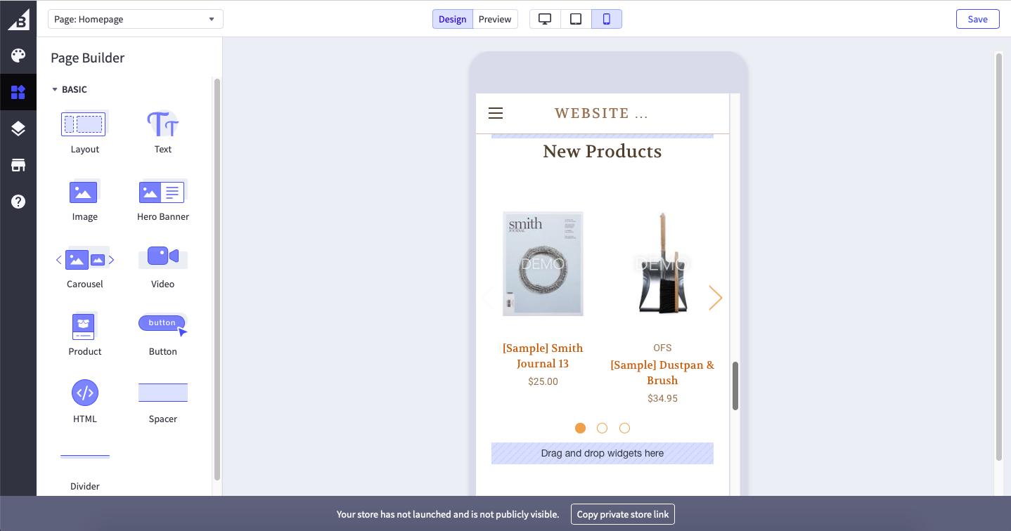screenshot of bigcommerce template editor