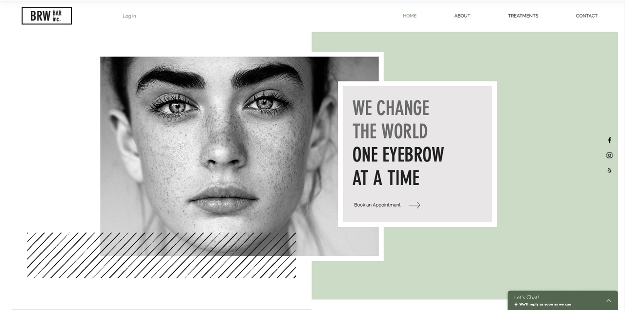wix template of a beauty saloon booking example screenshot