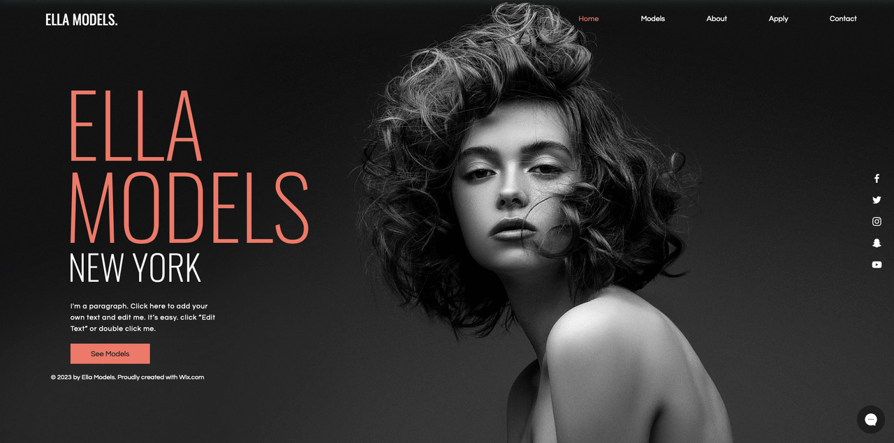 wix template example of a model agency screenshot