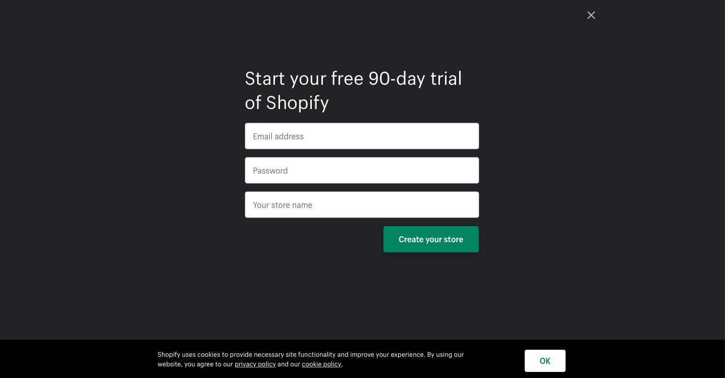 shopify registration screen screenshot