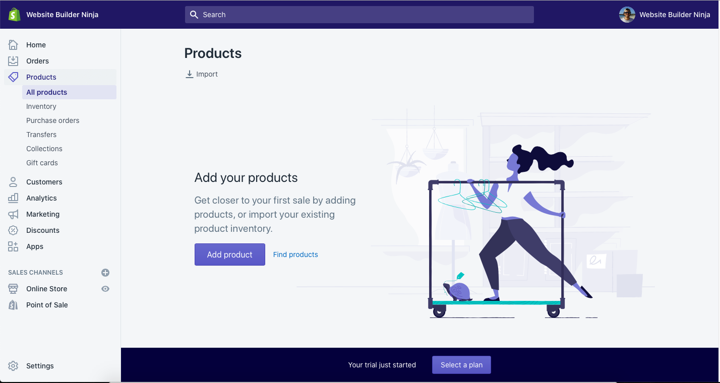 shopify product screen