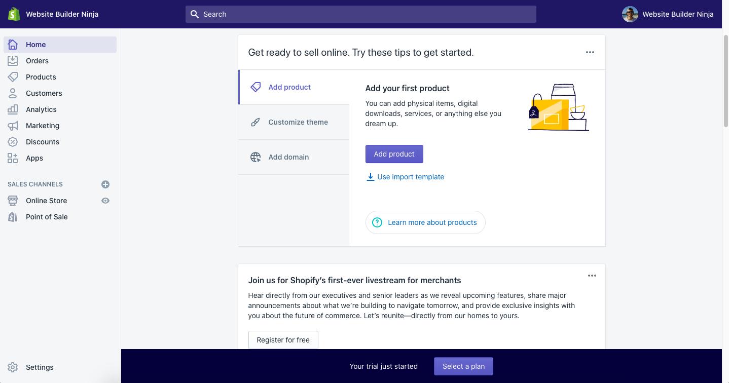 shopify initial login screen