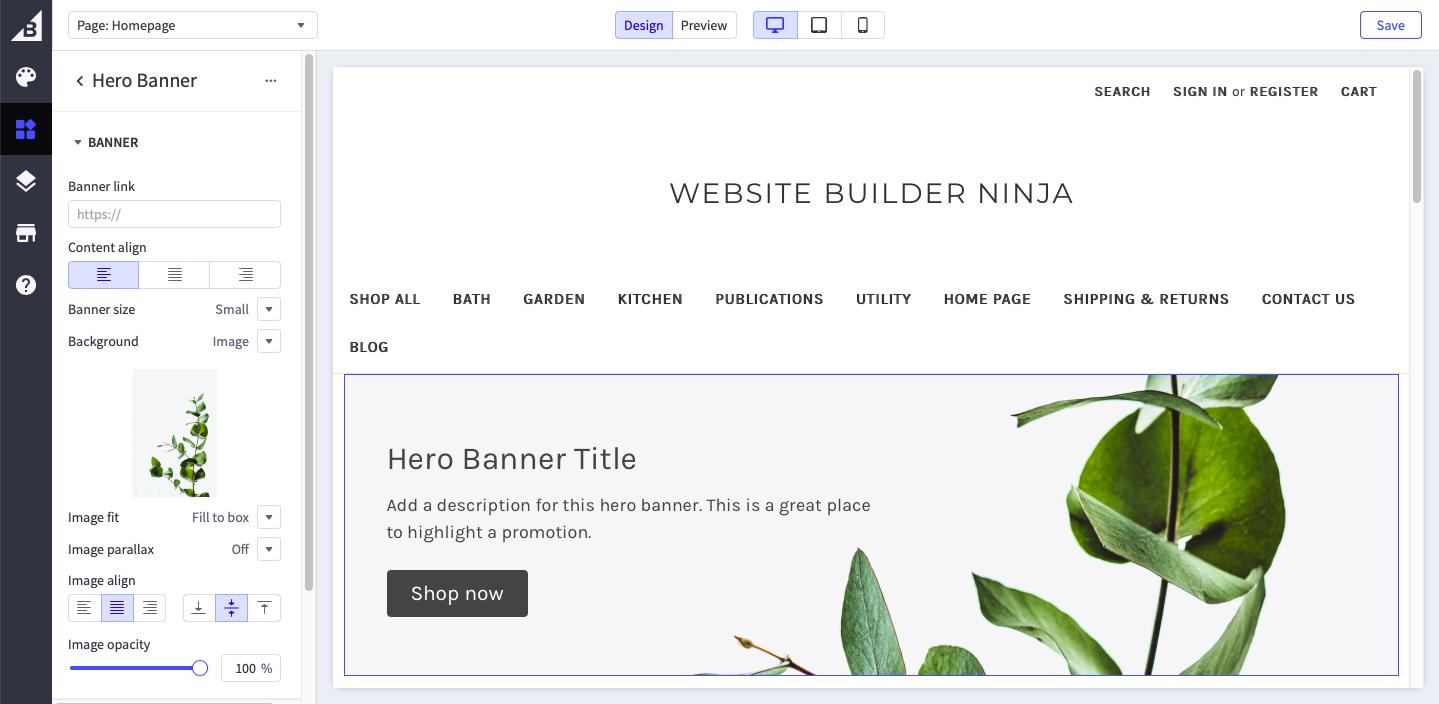 bigcommerce website builder screenshot