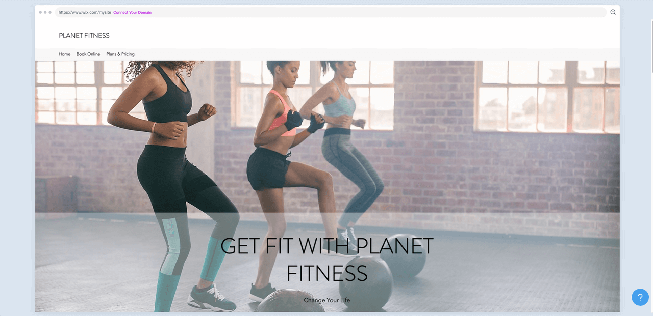 a gym website example screenshot
