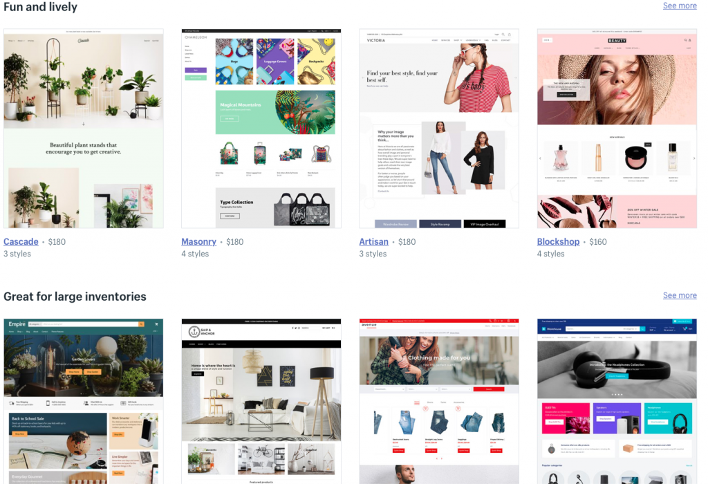 Shopify website template designs