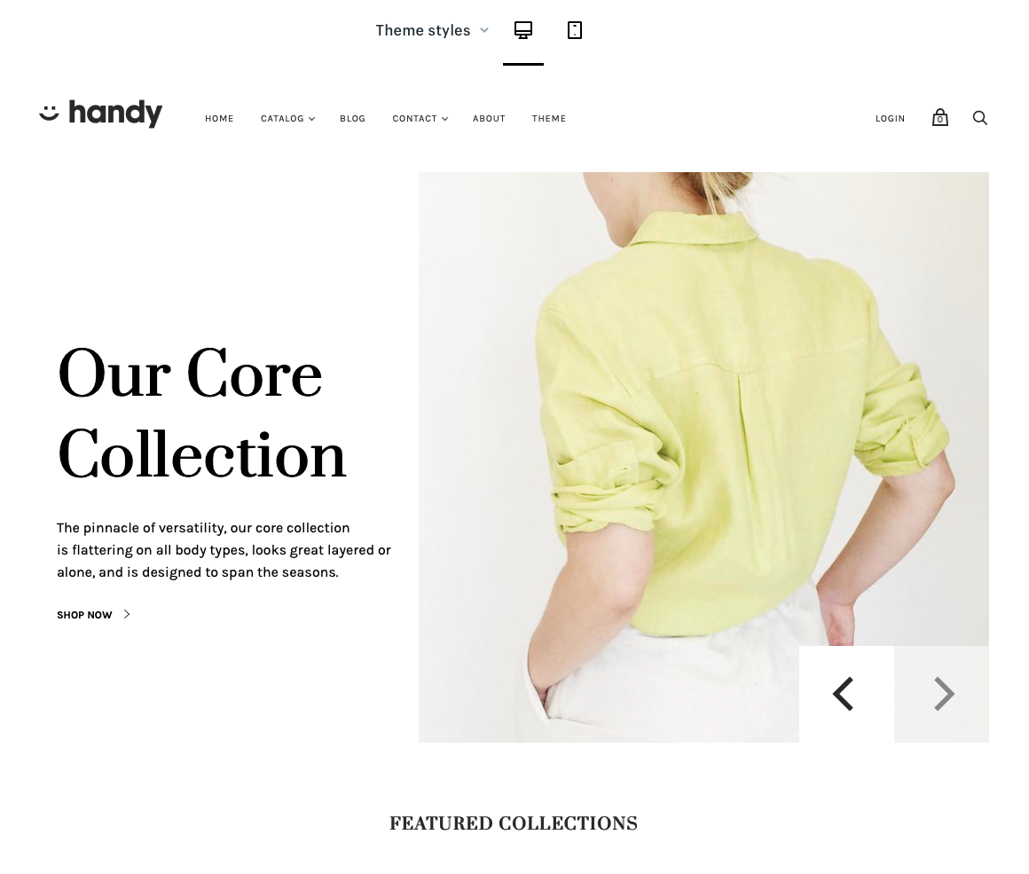 Shopify Handy Template in desktop view