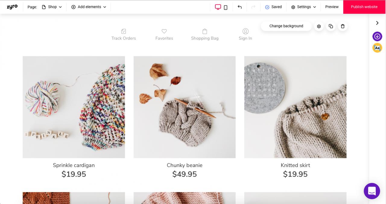 zyro ecommerce website example