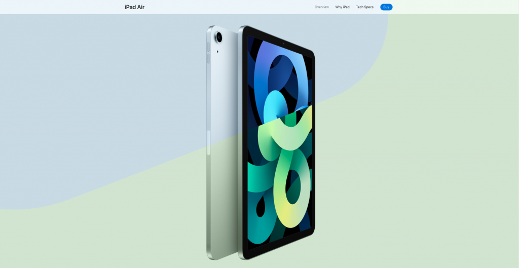 the iPad Air website page