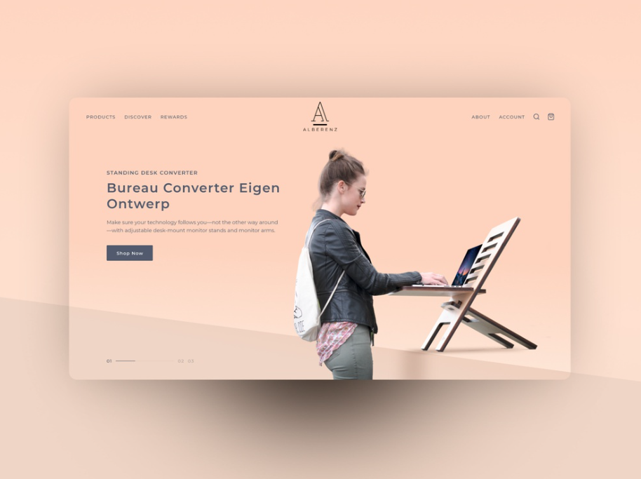 a neutral coloured website with a lady working at a stand up desk