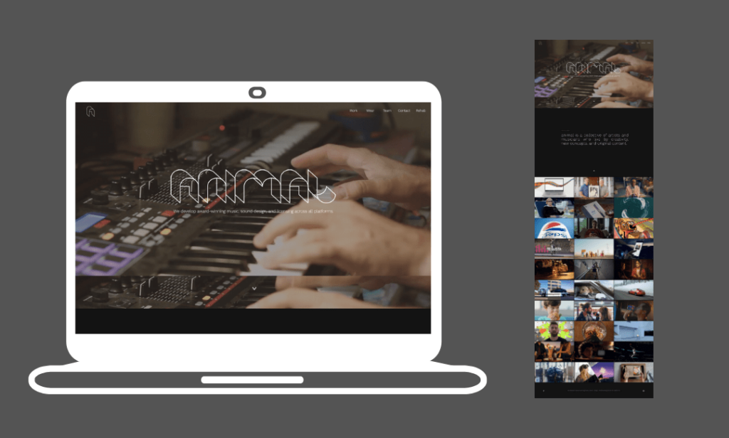 a wix website example with a man playing an electronic keyboard
