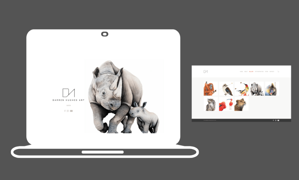 a wix website example with a hyper realistic drawing of a rhino and its calf as the header image