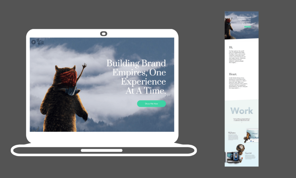 a wix website examples with the image of a cartoon bear staring into a cloudy sky