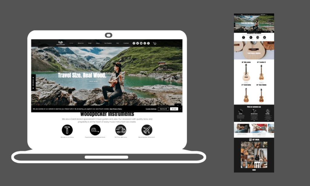 a wix website example with a header image that features a lady playing a travel size guitar