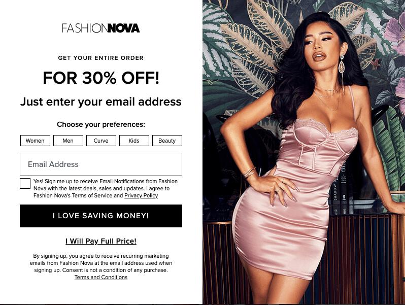 a Fashion Nova 30% discount promotional pop-up