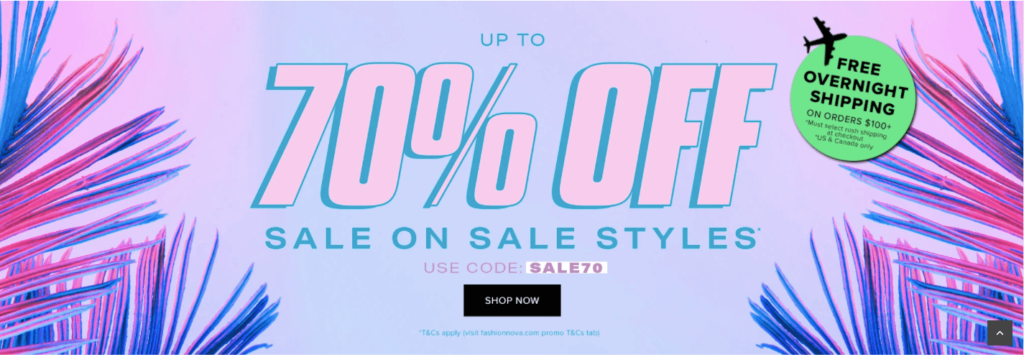 a Fashion Nova 70% off promotional banners from their website