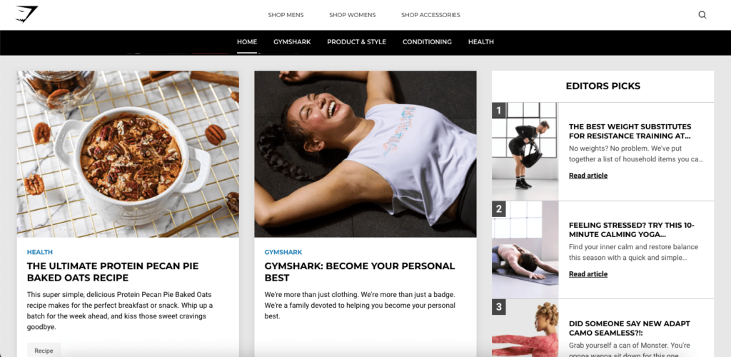 Gym Shark's blog which helped it to become on of the most successful Shopify stores