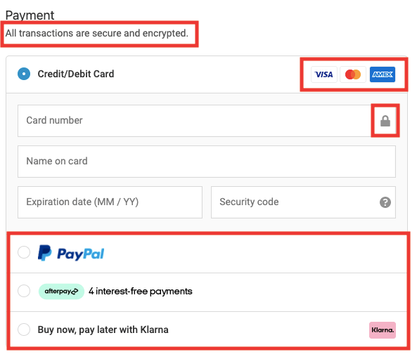 a screenshot of Gym Shark's payment information checkout page