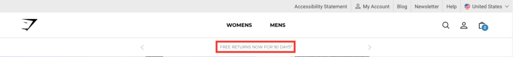 Gym Shark's promotional banner from their website which tells customers that they will receive 90-days free returns