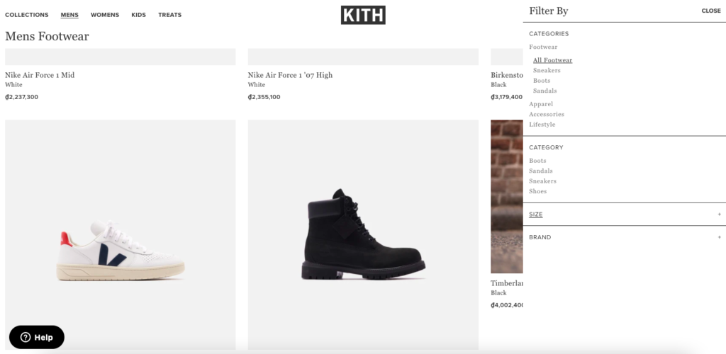 KITH product filters