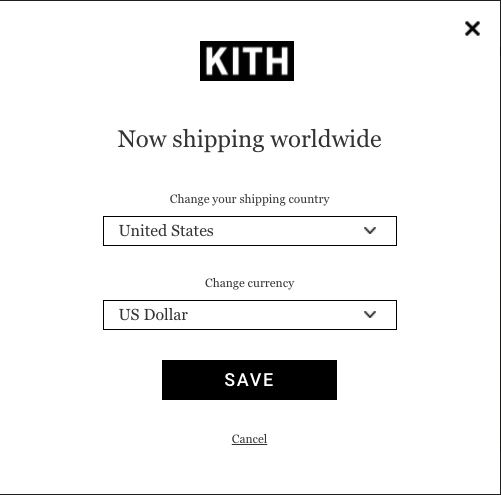 a pop up that allows KITH customers to choose their local currency