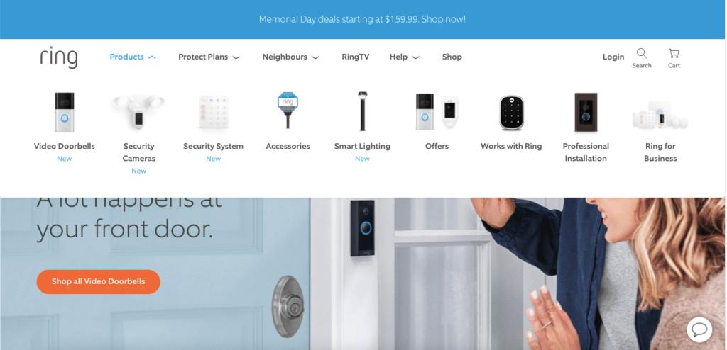 product images in a website navigation menu