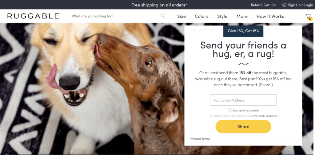 Ruggable referral offer featuring two cute dogs